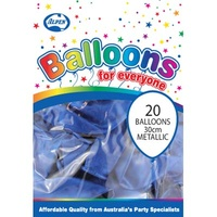 "Blue Metallic Balloons - 12"" - Pk 20"