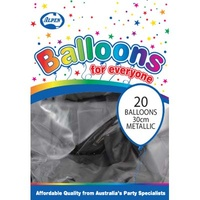 "Black Metallic Balloons - 12"" - Pk 20"