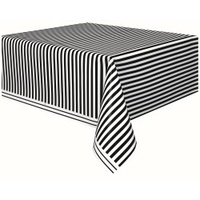 Black & White Striped Rectangle Tablecover