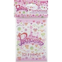 Princess Party Invitations - Pk 8