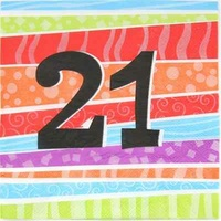21st Birthday Napkins - 2 Ply - Pk 25