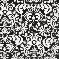 Black Damask Cocktail Napkin - 2 Ply - Pk 16