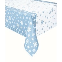 Snowflakes Printed Blue Rectangle Tablecover