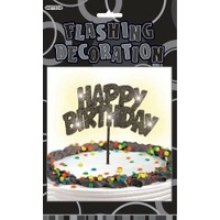 Black Glitz Flashing Happy Birthday Decoration