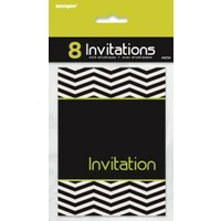 Black & White Designer Invitations - Pk 8