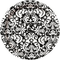 Black Damask Paper Plates - 7in - Pk8*
