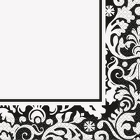Black Damask Printed Lunch Napkin - 2 Ply - Pk 16*