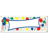 All-Weather Balloons Sign Banner - 152.4cm x 53.3cm