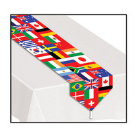 Printed International Flag Table Runner - 27.9cm x 182.9cm