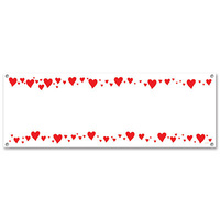 All-Weather Hearts Sign Banner - 152.4cm x 53.3cm