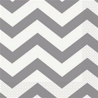 Silver Chevron Lunch Napkins - 2 Ply - Pk 16