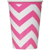 Hot Pink Chevron Cups - 355ml - Pk6