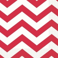 Ruby Red Chevron Lunch Napkins - 2 Ply - Pk 16