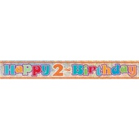 Happy 2nd Birthday Holographic Foil Banner - 3.65m
