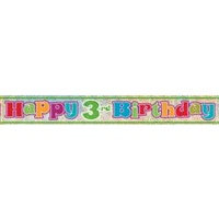 Happy 3rd Birthday Holographic Foil Banner - 3.65m