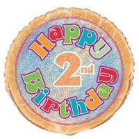 "18"" Happy 2nd Birthday Prismatic Foil Balloon"