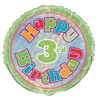 "18"" Happy 3rd Birthday Prismatic Foil Balloon"