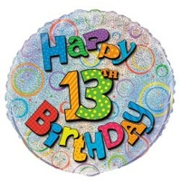 "18"" Happy 13th Birthday Prismatic Foil Balloon"