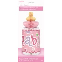 Baby Shower Pink Honeycomb Bottle Decoration