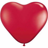 90cm Heart Jewel Ruby Red Latex Balloons