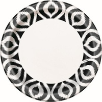 "Black and white Moroccan Ikat 9"" Plates - Pk 8"