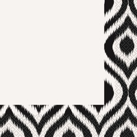 Black and white Moroccan Ikat Lunch Napkins.