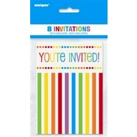 Ranbow Birthday Invitations - Pk 8