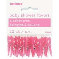 12 tiny pink clothes pegs.