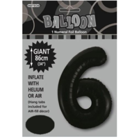 "#6 Black 34"" Foil Balloon"