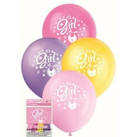 """It's a girl"" printed balloons in pink and purple, pack of 8"