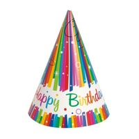 Rainbow Ribbons Party Hats - pack of 8