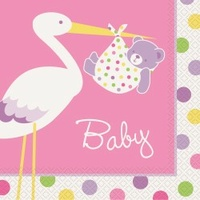 Baby Girl Stork Lunch Napkins - Pk 16