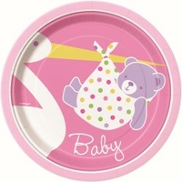 "Baby Girl Stork 7"" Lunch Plates - Pk 8"