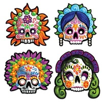 Day Of The Dead Large Masks - Pack 4