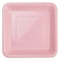 Classic Pink Square Plastic Snack Plate (180mm) - Pk 20