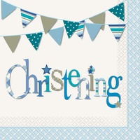 Blue Christening Napkins - pk 16