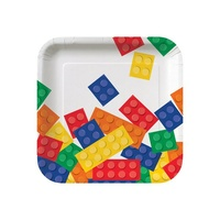 Toy Block Paper Lunch Plates PK 8