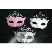 Masquerade Mask With Attached Silver Glitter Tiara - White