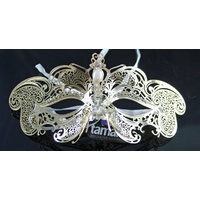 Gold Metal Butterfly Filigree Eye Mask With Yellow Diamantés
