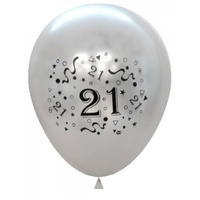 Silver 21st Birthday Balloons - Pack of 6