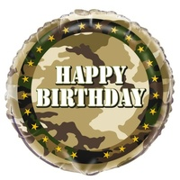 Military Camo 45cm Happy Birthday Foil Balloon