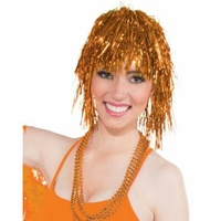 Tinsel Wig - Orange