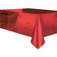 Red Foil Plastic Rectangle Tablecover