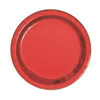 "Red 7"" Foil Lunch Plate - Pk 8"