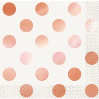 Rose Gold Foil Dot Beverage Napkins (2ply) - Pk 16