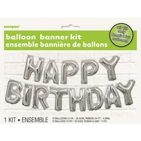 HAPPY BIRTHDAY Silver Foil Balloon Banner Kit -14""