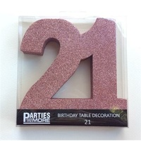 21st Birthday Foam Glitter Number Centrepiece - Rose Gold