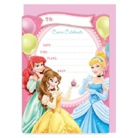 Disney Princess Party Invitations - Pk 16