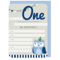 1st Birthday Boy Party Invitations - Pk 16