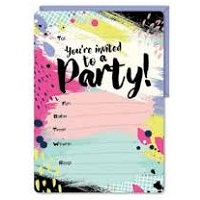Abstract Paint Stroke Party Invitations - Pk 16